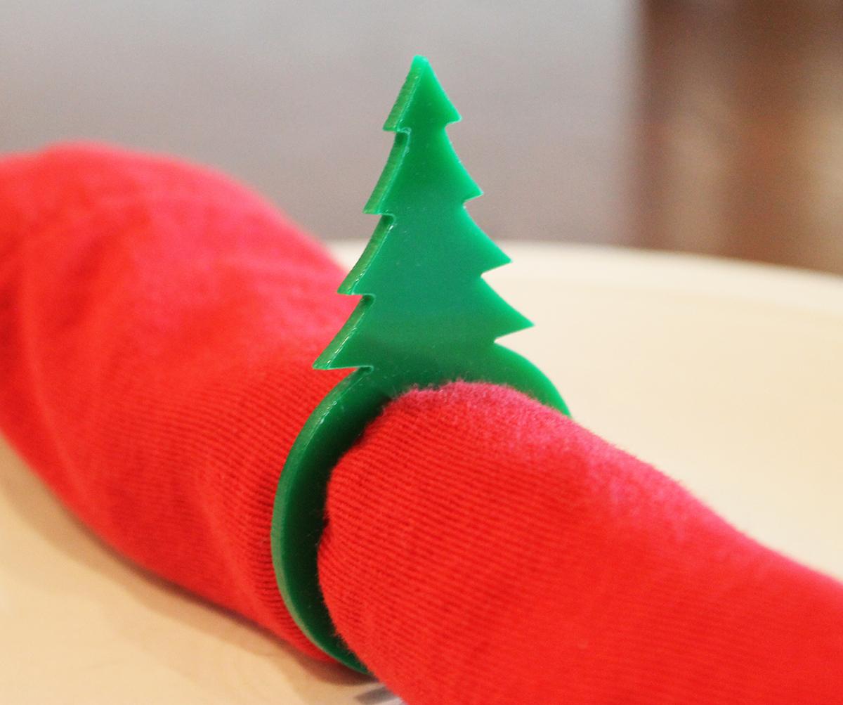 Christmas tree napkin ring green acrylic